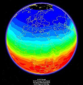 Near real-time UV index at Google Earth 19 December 2011