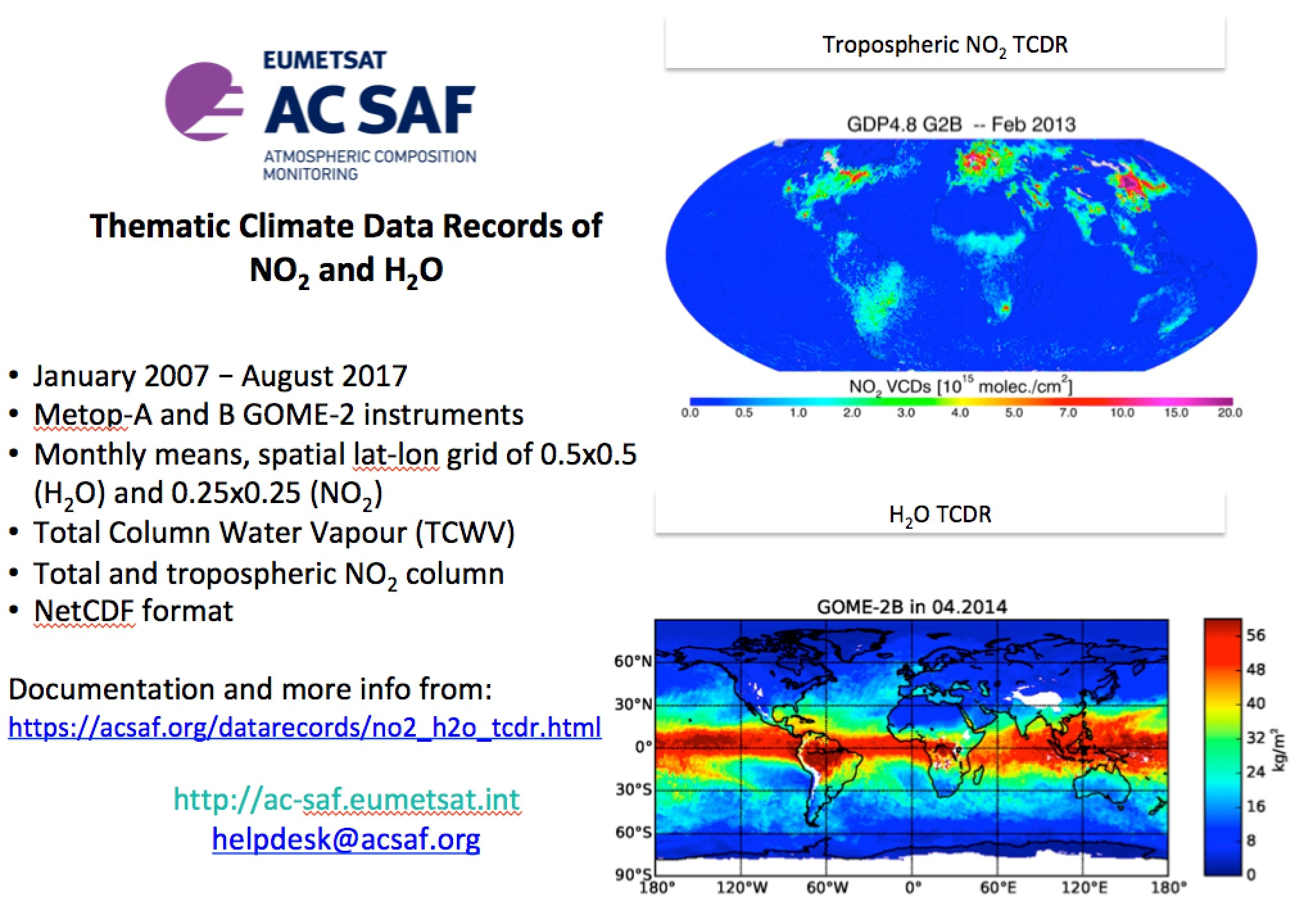 GOME-2 NO2 and H2O level 3 climate data record release image